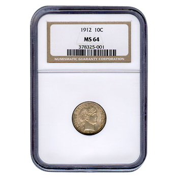 Certified Barber Dime 1912 MS64 NGC