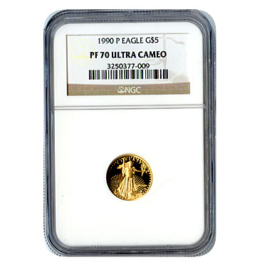 Certified Proof American Gold Eagle $5 1990 PF70 NGC