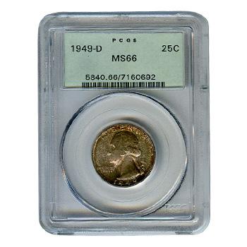 Certified Washington Quarter 1949-D MS66 PCGS
