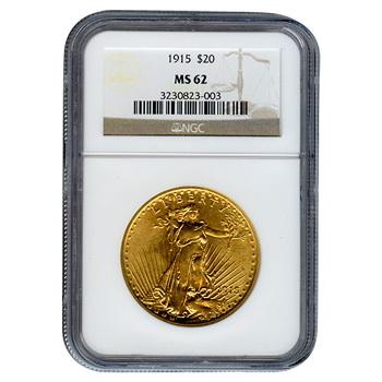 Certified $20 St Gaudens 1915 MS62 NGC