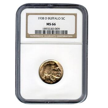 Certified Buffalo Nickel 1938-D MS66 NGC