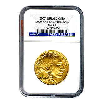 Certified Uncirculated Gold Buffalo 2007 MS70 Early Release