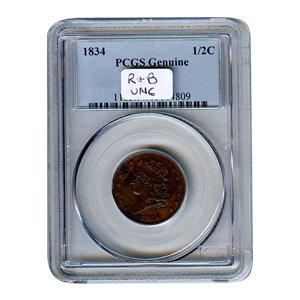 Certified Half Cent 1834 PCGS Genuine