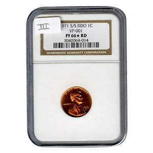Certified Lincoln Cent 1971-S over S DDO PF66* RD VP-001 III