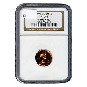 Certified Lincoln Cent 1971-S DDO PF66* RD VP-002 D