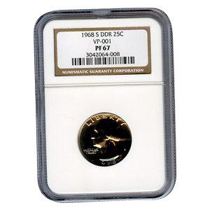 Certified Washington Quarter 1968-S DDR PF67 VP-001