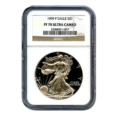 Certified Proof Silver Eagle 1999 PF70 NGC