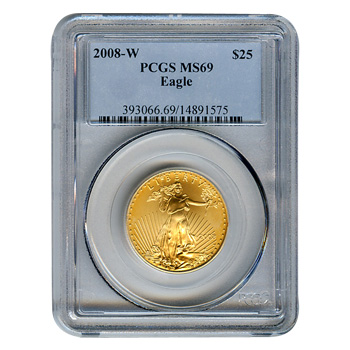 Certified American $25 Gold Eagle 2008-W MS69 PCGS