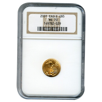 Certified American $5 Gold Eagle 2001 MS70 NGC