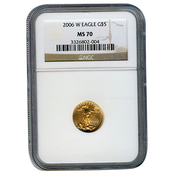 Certified Burnished American $5 Gold Eagle 2006-W MS70 NGC