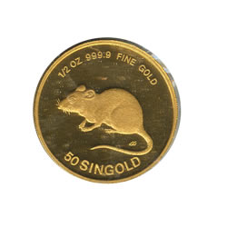 Singapore Gold Half Ounce 1984 Rat