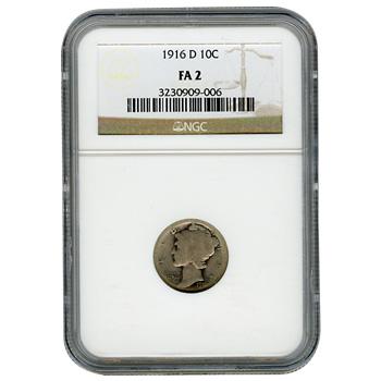 Certified Mercury Dime 1916-D FA2 NGC