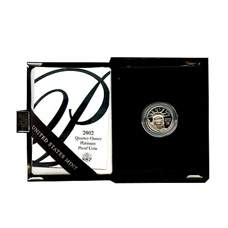 Platinum American Eagle Proof 2002 Quarter Ounce with Box