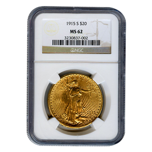Certified $20 St Gaudens 1915-S MS62 NGC