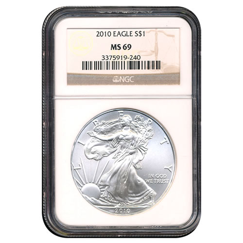 Certified Uncirculated Silver Eagle 2010 MS69