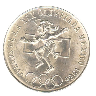 Mexico 25 pesos 1968 Olympics AU-UNC silver