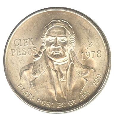 Mexico 100 pesos silver 1977-1979 Morelos