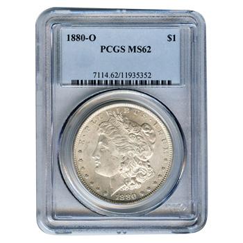 Certified Morgan Silver Dollar 1880-O MS62 PCGS