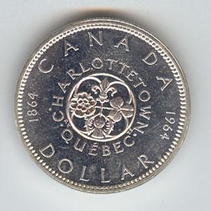 Canada 1964 silver dollar Charlottetown