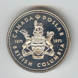 Canada 1971 silver dollar British Columbia