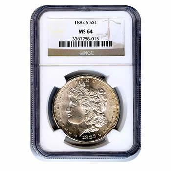 Certified Morgan Silver Dollar 1882-S MS64 NGC