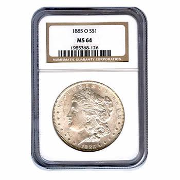 Certified Morgan Silver Dollar 1885-O MS64 NGC