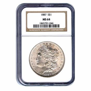 Certified Morgan Silver Dollar 1887 MS64 NGC