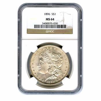 Certified Morgan Silver Dollar 1896 MS64 NGC