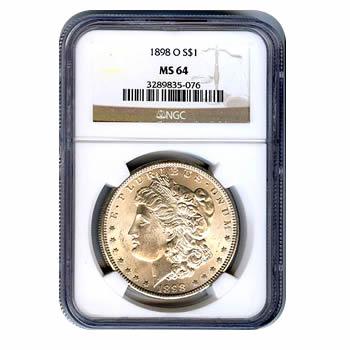 Certified Morgan Silver Dollar 1898-O MS64 NGC