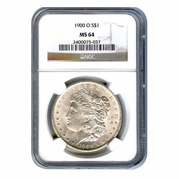 Certified Morgan Silver Dollar 1900-O MS64 NGC