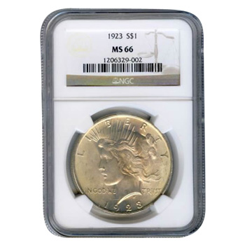 Certified Peace Silver Dollar 1923 MS66 NGC