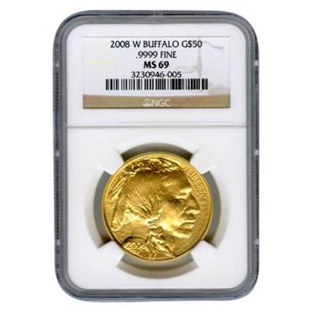 Certified Uncirculated Gold Buffalo One Ounce 2008-W MS69 NGC