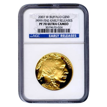 Certified Proof Buffalo Gold Coin 2007-W One Ounce PF70 Early Release