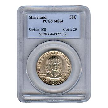 Certified Commemorative Half Dollar Maryland MS64 PCGS