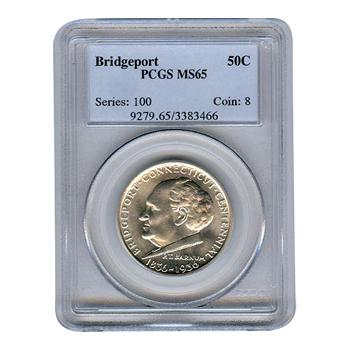 Certified Commemorative Half Dollar Bridgeport MS65 PCGS