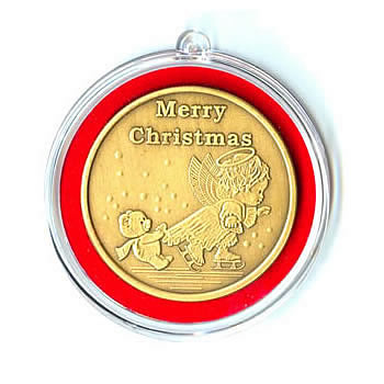 Christmas 2010 Bronze Round X-4 Angel (with ornament holder)