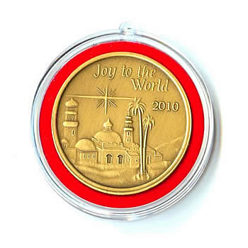 Christmas 2010 Bronze Round X-15 Joy To The World (with ornament holder)