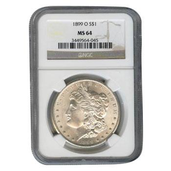 Certified Morgan Silver Dollar 1899-O MS64 NGC