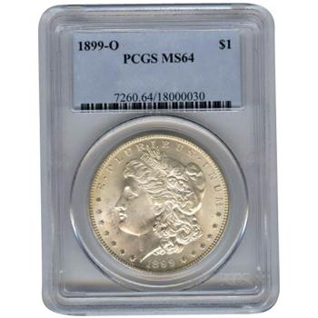 Certified Morgan Silver Dollar 1899-O MS64 PCGS