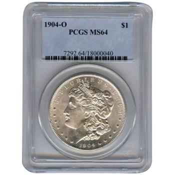 Certified Morgan Silver Dollar 1904-O MS64 PCGS