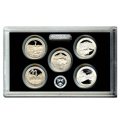 US Proof Set America the Beautiful Silver Quarters Without Box 2011