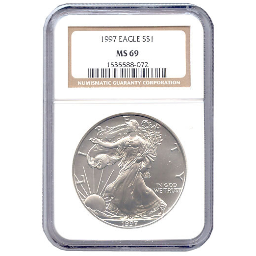 Certified Uncirculated Silver Eagle 1997 MS69