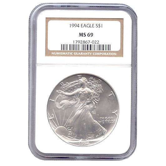 Certified Uncirculated Silver Eagle 1994 MS69