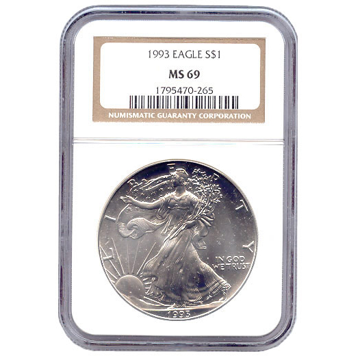 Certified Uncirculated Silver Eagle 1993 MS69
