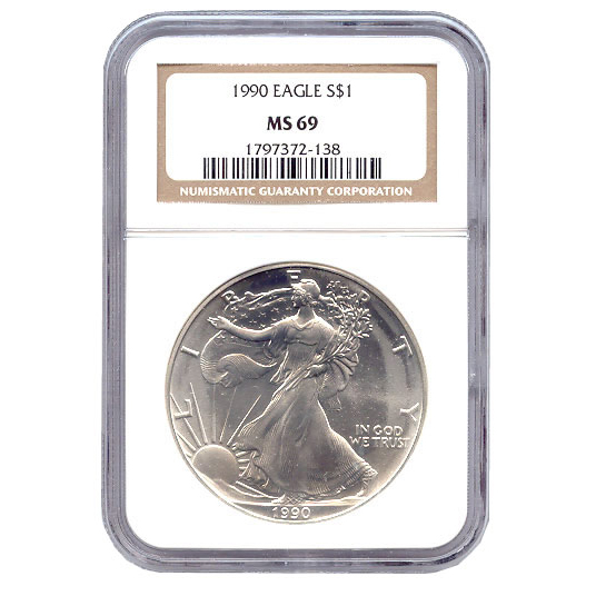Certified Uncirculated Silver Eagle 1990 MS69