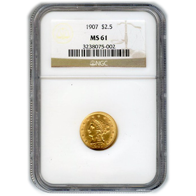 Certified US Gold $2.5 Liberty MS61 (Dates Our Choice) PCGS or NGC