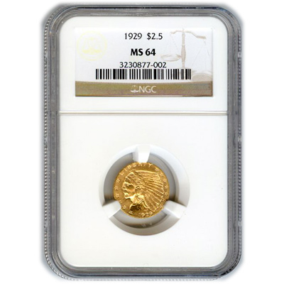 Certified US Gold $2.5 Indian MS64 (Dates Our Choice) PCGS or NGC