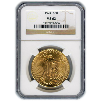 Certified $20 St Gaudens MS62 (Dates Our Choice) PCGS or NGC