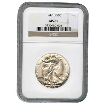 Certified Walking Liberty Half Dollar 1942-D MS65 NGC