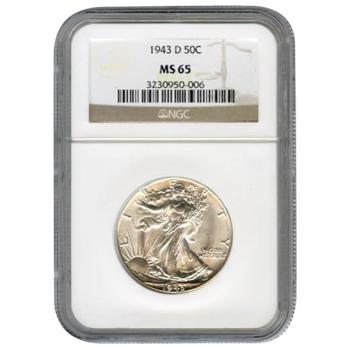 Certified Walking Liberty Half Dollar 1943-D MS65 NGC
